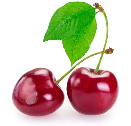 fresh cherry isolated on white background closeup Stockfoto
