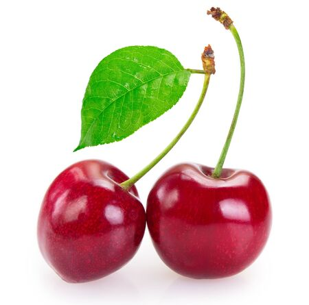 fresh cherry isolated on white background closeup Stock fotó