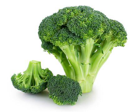 świeże brokuły na białym tle zbliżenie Zdjęcie Seryjne