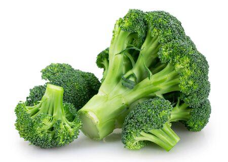 fresh broccoli isolated on white background closeup Archivio Fotografico