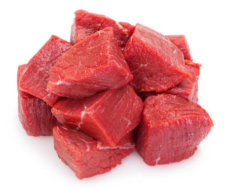 raw beef meat isolated on white background
