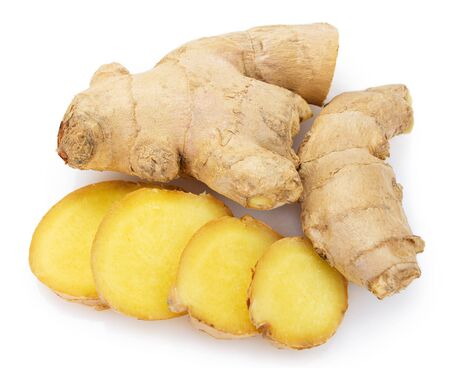 fresh ginger isolated on white background closeup Foto de archivo