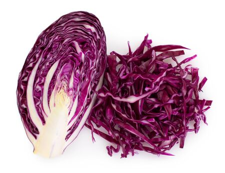 fresh red cabbage isolated on white background Imagens