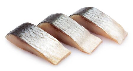 salted herring isolated on white background closeup Stockfoto