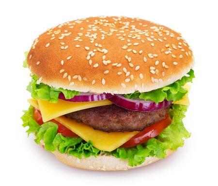 tasty hamburger isolated on white background closeup