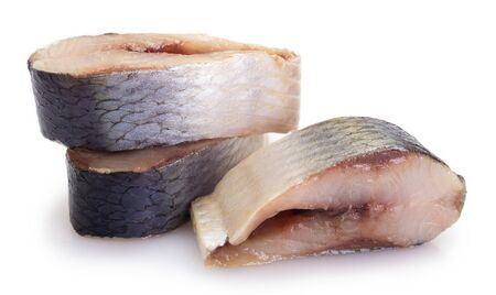 salted herring isolated on white background closeup