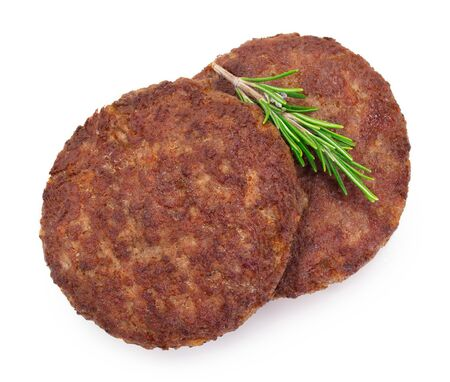 grilled meat cutlet for burger isolated on white background, cooked cutlet for hamburger