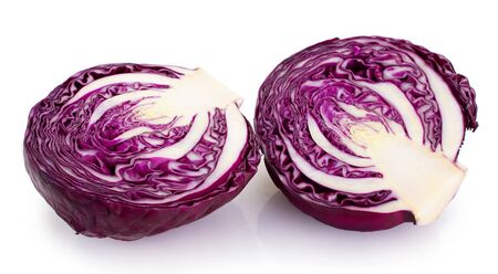 fresh red cabbage isolated on white background 스톡 콘텐츠
