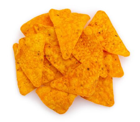 nachos chips isolated on white background, corn chips closeup