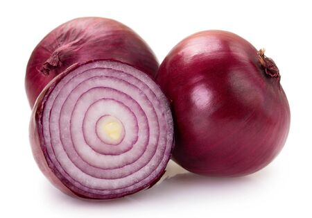fresh red onion isolated on white background closeup