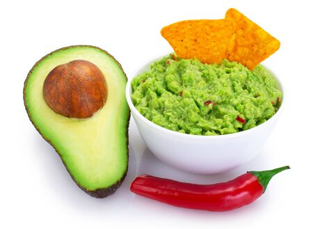 bowl of guacamole with avocado isolated on white background 스톡 콘텐츠