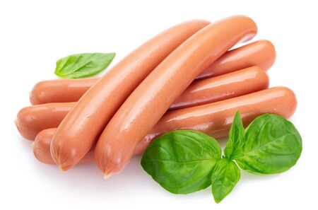 fresh boiled sausages isolated on white background 스톡 콘텐츠