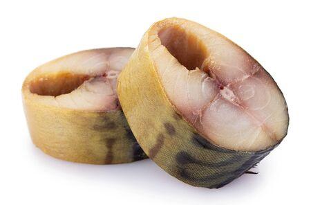 smoked mackerel fish isolated on white background
