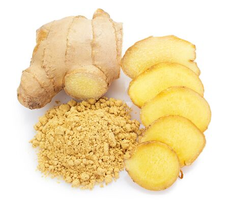 fresh ginger isolated on white background closeup