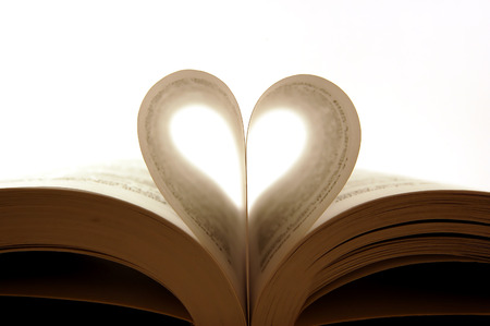 pages of a book curved into a heart shape Stock Photo - 1366689