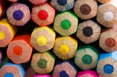 Colored pencils macro background Stock Photo