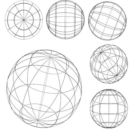 Illustration: original globe elements-spheres Vector