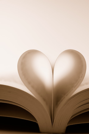 pages of a book curved into a heart shape Stock Photo - 1527079
