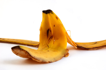 peel of a banana on white background