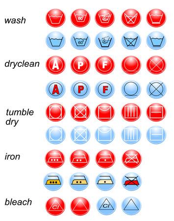 lejia: Icono conjunto de s�mbolos de lavander�a