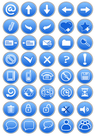 set of blue icons internet