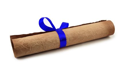baccalaureate: Diploma with blue ribbon on white background Stock Photo