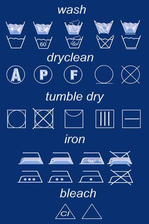 dry cleaned: Icona insieme di simboli di lavanderia  Archivio Fotografico
