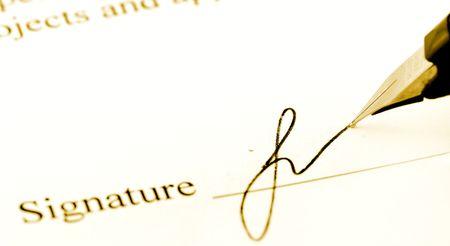 autograph: Close-up of a fountain pen Stock Photo