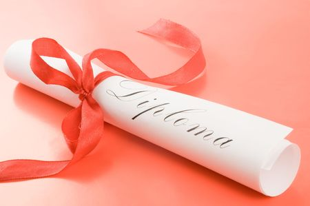 Diploma with red ribbon on red background