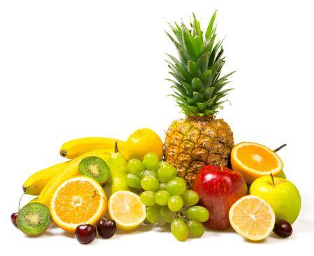 lot of fresh fruits isolated on white