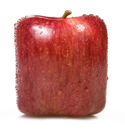 Red Square apple on a white . Stock Photo