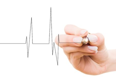 hand drawing heart beat Stock Photo