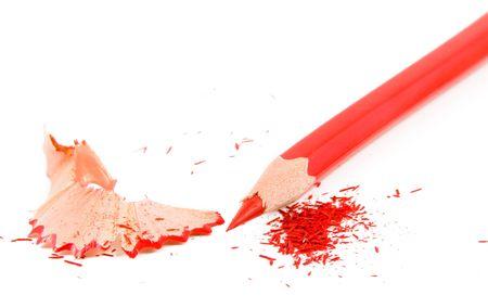 sharpenings: Sharpened pencil and wood shavings