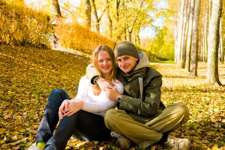 Happy couple outdoors photo