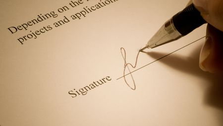 Signature. Close-up of a pen. Stock Photo