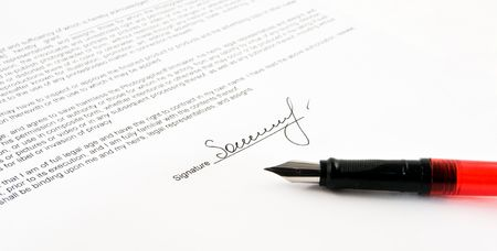 subscribing: signature and close-up of a fountain pen Stock Photo