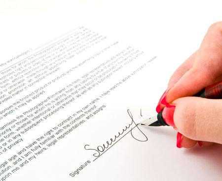 signature and Close-up of a fountain pen Stock Photo - 3805316