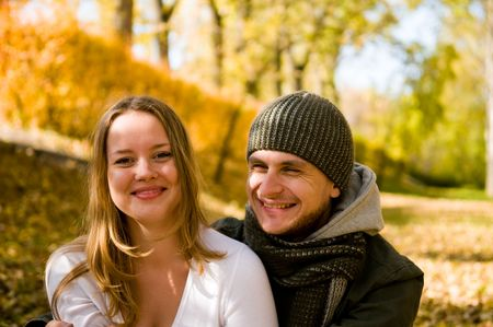 laughing couple outdoors   photo