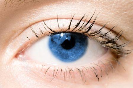bloodshot: Human blue eye. macro shooting Stock Photo