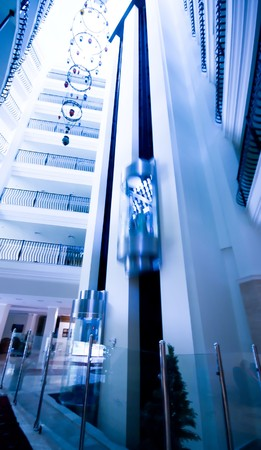Modern building lift. Blue. Stock Photo - 4317310