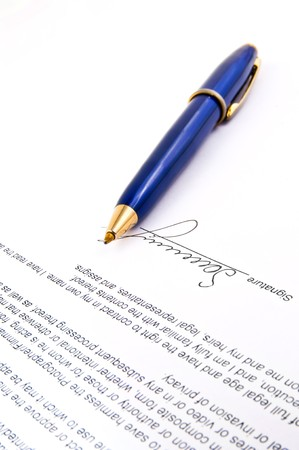subscribing: signature and Close-up of a fountain pen