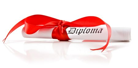 baccalaureate: Diploma with red ribbon on white background