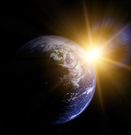 orbit: earth and sun   Stock Photo