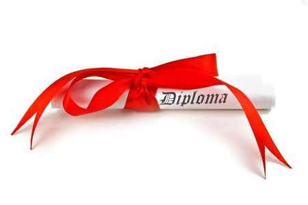 Diploma with red ribbon on white background Stock Photo - 4743966