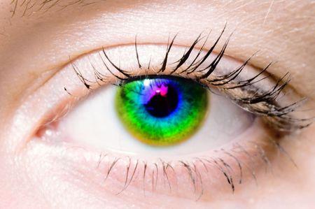 Human Rainbow eye. macro shooting photo