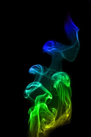 notional: Colorful Rainbow Smoke on black Stock Photo