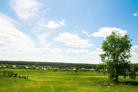 hause: Rural summer landscape   Stock Photo