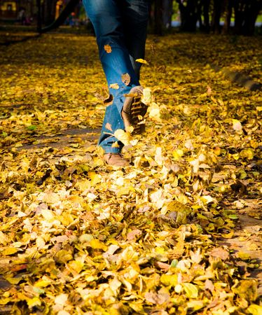 Feet walking through brightly colored fall leaves on the ground.  photo