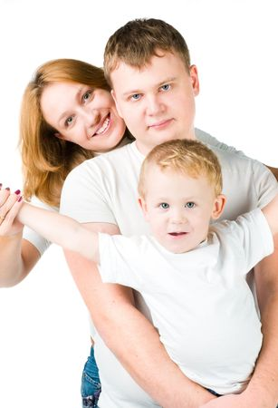 Portrait young family on white Stock Photo - 6293653
