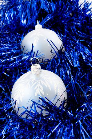 trumpery:   blus balls and tinsel  Stock Photo